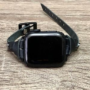 Black Double Wrap Leather Band Black Apple iWatch